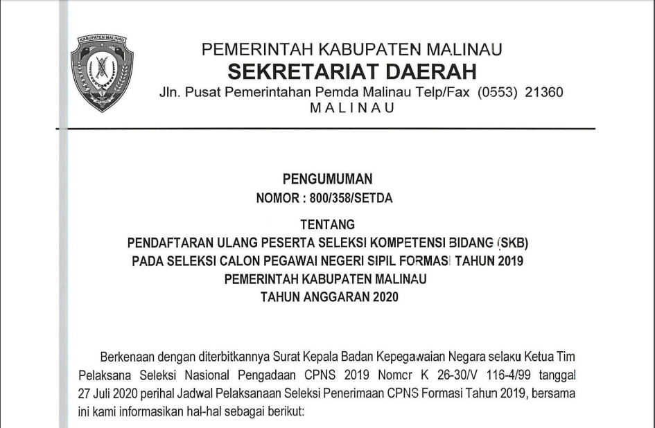 pengumuman-pendaftaran-ulang-peserta-seleksi-kompetisi-bidang-skb-pada-seleksi-calon-pegawai-negeri-sipil-formasi-tahun-2019-pemerintah-kabupaten-malinau-tahun-anggaran-2020